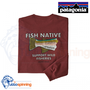 Patagonia Men's Long-Sleeved Native World Trout Responsibili-Tee - Oxide Red