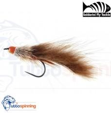 SFT Soldarini River Streamer Barbless - Orange Cone Zonker Brown